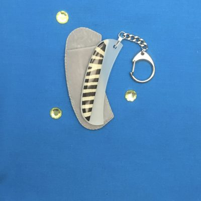 Crescent Keychain Glass Nail File Zebra